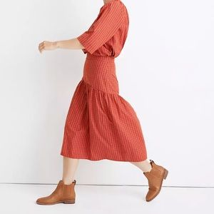 Madewell Drop-Waist Midi Skirt Windowpane Jacquard